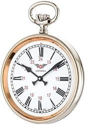 Catorex Men's 170.1.1833.110 La Pautele Etched Brass White Dial Pocket Watch