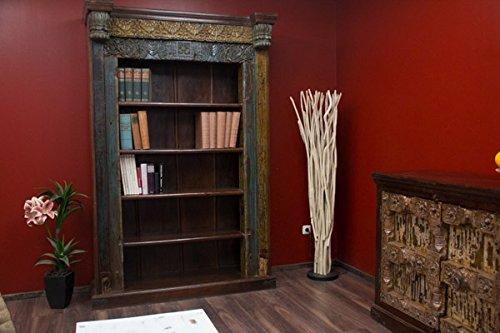 Buddha Art Lounge Bücherregal, Antik, Weiß, Holz, Massiv, gekälkt, Kolonial, 208x135x51