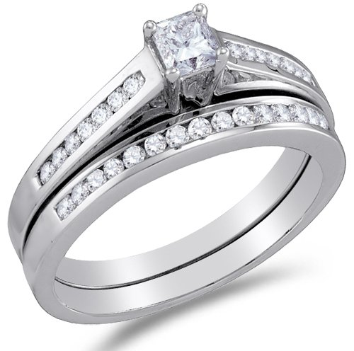 10K White Gold Diamond Bridal Engagement Ring with Matching Wedding ...