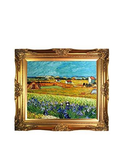 Vincent Van Gogh Harvest With Irises Collage Reproduction, Multi, 28 x 32