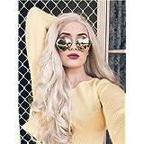 Imstyle Ash Blonde Lace Front Wigs Long Blonde Wigs For Women Wave Lace Front Wigs Blonde Synthetic Platinum Color Hair 26 Inch (Color: Ash Blonde, Tamaño: Natural Wavy)
