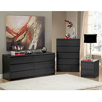 Black Woodgrain Gramercy Home Nightstand, Dresser and Chest Bed Room Set | This 3 Pcs Modern Stylish Set Is an Incredible Value for Your Contemporary Bedroom and Provides Ample Storage