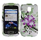 Hard Purple Flowers Case Cover Faceplate Protector for LG Optimus T P509 / LG Phoenix P505 / LG Thrive P506 with Free Gift Reliable Accessory Pen