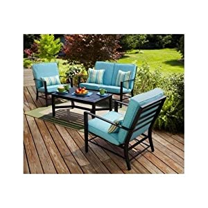 Turquoise Patio Conversation Set With Striped Throw Cushions from Mainstays