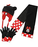 Disney Kids Minnie Mouse Infant Girl Childrens Kid 3 Piece Set Hat Gloves Scarf