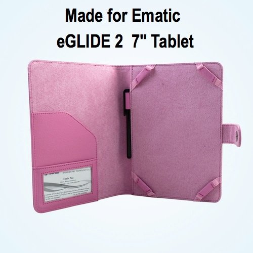 Ematic eGlide 2 7 inch Tablet Case / Cover - Pink SRX Executive by Kiwi Cases (Kiwi Slide compare prices)