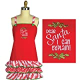 Dear Santa, I Can Explain Christmas Embroidered Frill Kitchen Apron - Kay Dee Designs