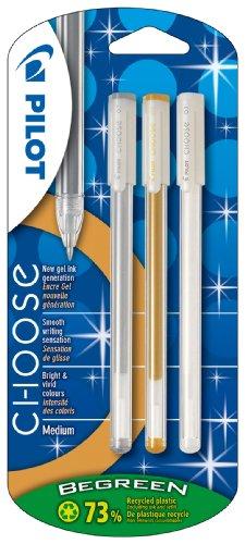 Pilot Choose - Juego de bolígrafos roller (3 unidades, tinta de gel dorada, plateada y blanca)