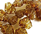 Czech Glass Beads, 10x13mm, Amber Picasso, Maple Leaf, Qty:10