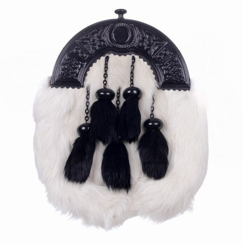 Rabbit Fur 5 Tassel Dress Kilt Sporran Black Enamel with Matching Chain Strap