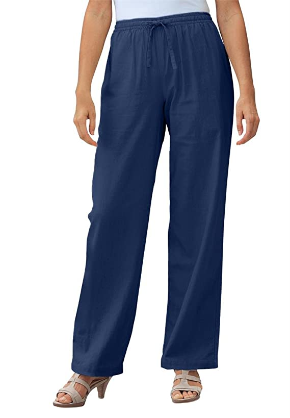 Women's Plus Size Tall Pants In Cool Linen Blend
