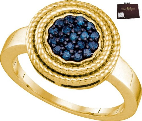 925 Yellow Gold Plated Ring 0.25 ct Blue Diamond Cluster Centerpiece Set in Double Circle Frames - Incl. ClassicDiamondHouse Free Gift Box & Cleaning Cloth
