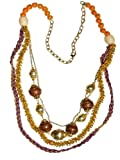 "JousJous Gold Brass Metal Chain, Brown Wood Baubles, Orange Beads and Purple Cord Happy Golden Days Handmade Necklace, 34"" Long"