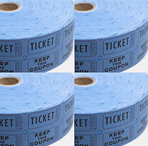 Blue Raffle Tickets - (4 Rolls of 2000 Double Tickets) 8,000 Total 50/50 (Double Raffle Tickets Blue compare prices)
