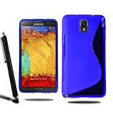 Samsung Galaxy Note 3 N9000 N9005 Grip Wave S Line Silicone Case Cover + Screen Protector + Stylus (Blue)