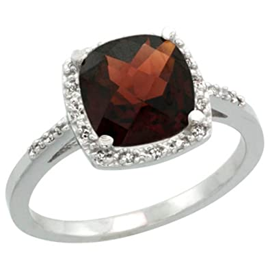 Revoni Sterling Silver Garnet And Diamond Ring, Cushion Cut Stone (8 mm)