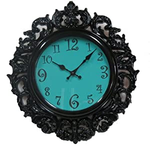 Black & Turquoise Victorian Style Wall Clock