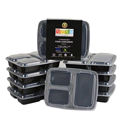 10-Pack NimNik Bento Box Contenitori in Plastica per Alimenti, Contenitori per Alimenti, 3 scomparti, Microonde, Riutilizzabile, Senza BPA, Nero