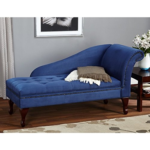 Elegant Upholstered Button Tufted Storage Chaise (Blue) 2