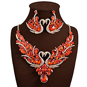 Holylove Red Color Romantic Bling Swan Crystal Rhinestone Necklace & Earrings Wedding Party Jewelry Set