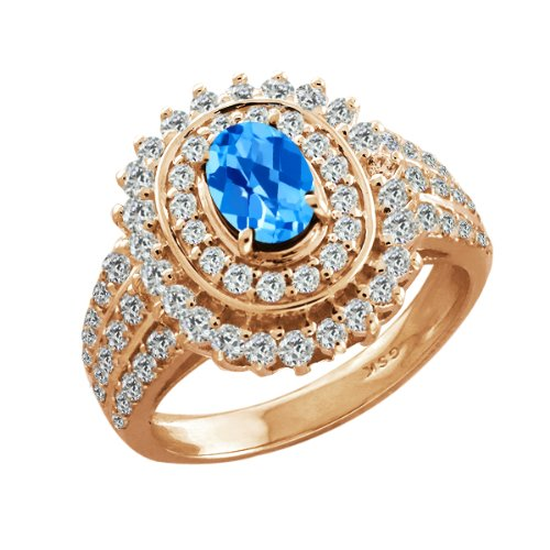 2.90 Ct Oval Swiss Blue Topaz Gold Plated Sterling Silver Woman's Ring