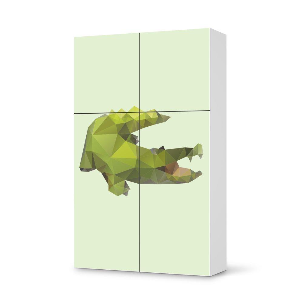 Folie IKEA Besta Schrank Hochkant 4 Türen (2+2) / Design Aufkleber Origami Crocodile / Dekorationselement online kaufen