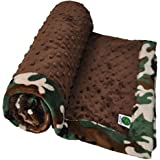 "Cozy Wozy Camouflage Minky Baby Blanket With Mitered Corners, Camoflage/Brown, 32"" X 37"""