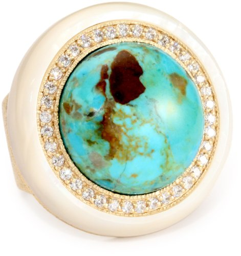 ANDARA Magnesite Turquoise Gumball Ring, Size 6