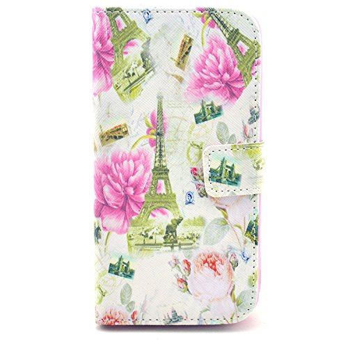 Bayke Brand / Lg Optimus G2 Smartphone Fashion Pu Leather Wallet Flip Protective Skin Case With Stand With Credit Card Slots & Holder Lg G2 At&T, Sprint, T-Mobile, International Only (Flowers And The World Famous Sites Print)