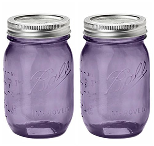 Set of TWO PURPLE Genuine Heritage 100 Year Anniversary Edition BALL MASON JARS (pint) Bundled with Handy Refrigerator MEASURING CHART MAGNET (Purple Heritage Canning Jars compare prices)