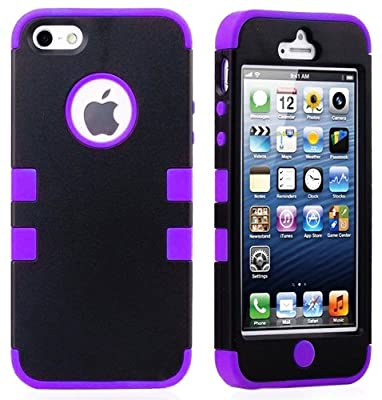 myLife Purple - Black Flat Matte Series (Hypergrip Flex Gel) 3 Piece Case for iPhone 5/5S (5G) 5th Generation Smartphone by Apple (External 2 Piece Fitted On Hard Rubberized Plates + Internal Soft Silicone Easy Grip Bumper Gel)