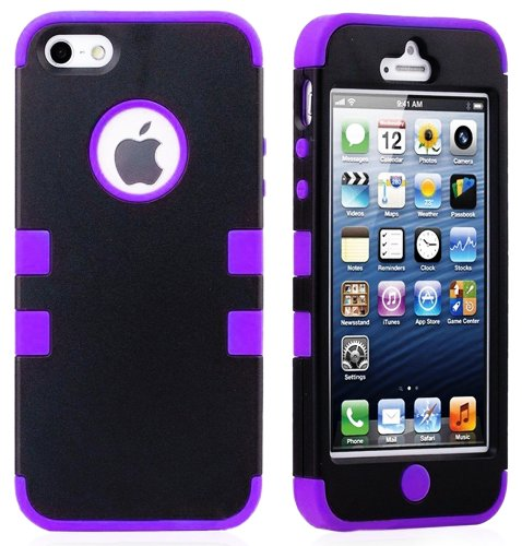 Mylife (Tm) Purple - Black Flat Matte Series (Neo Hypergrip Flex Gel) 3 Piece Case For Iphone 5/5S (5G) 5Th Generation Itouch Smartphone By Apple (External 2 Piece Fitted On Hard Rubberized Plates + Internal Soft Silicone Easy Grip Bumper Gel)
