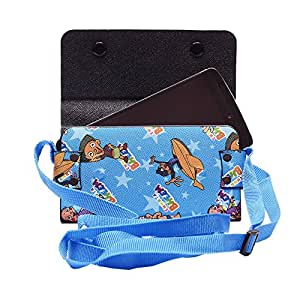Colorkart Printed Mobile Pouch Handbag With Adjustable Strip For LG X Mach Mobile Phone (Synthetic Leather, Sky Blue)