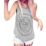 YANG-YI Clearance, Hot Women Printed Blouse Sleeveless Vest Tee Shirt Blouse Casual Tank Tops