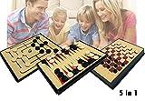 Juego de mesa 5 en 1 (Ajedrez / Damas / Backgammon / 3 en Raya) mws1911