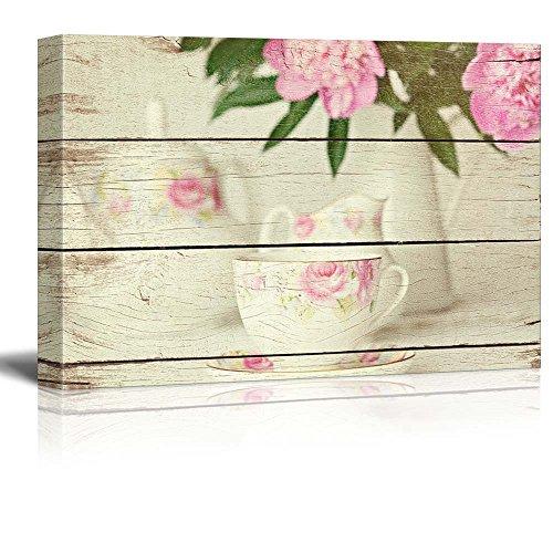 Wall26 - Tea Set and Floral Arrangement - Tea Party - Rustic Floral Arrangements - Wood Grain Antique - Canvas Art Home Decor - 16x24 inches