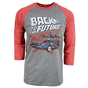 Mens Back To The Future Raglan T Shirt Grey