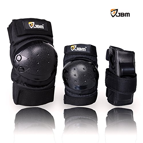 JBM International Knee Elbow Wrist Support Pad set for Children, Black