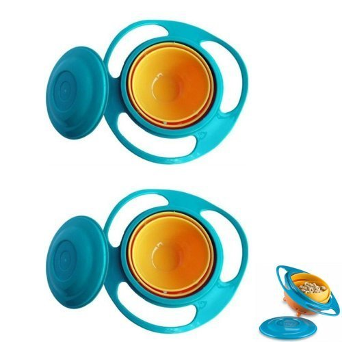 2 Baby Gyro Bowl Toy Children Kids 360 Rotate Spill Proof Dish Lid Cup Pod Gift front-1041778