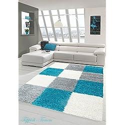 Shaggy Teppich Hochflor Langflor Teppich Wohnzimmer Teppich Gemustert in Karo Design Türkis Grau Cream Größe 120x170 cm