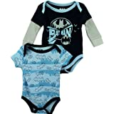 "DC Comics Batman ""City Shadows"" Blue 2-Pack Infant Bodysuit Set"