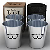 Stainless Steel Shot Glasses - Top Quality 2 fl oz Shooter Glasses (4 Pack) With Genuine Leather Case - Funny, Cool, Cheap, Rediculous & Humorous Gift Idea, Novelty Metal Shot Glass / Jigger Set For Men - Unique Party, Barware, Office Gag, Drinking Games & Fathers Day, Gift Set of 4