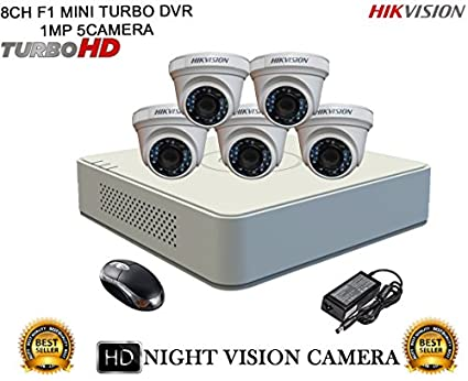 Hikvision-DS-7108HGHI-F1-Mini-8CH-Dvr,-5(DS-2CE56COT-IRP)-Dome-Cameras-(With-Mouse)