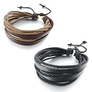 MunkiMix 2 Pièce Genuine Leather Bracelet Bracelet Brun Noir Tressé Surfer Enveloppez Punk Rock Réglable S'Adapter 7~9 Pouce Homme