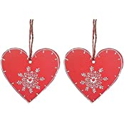Purpledip Wooden Heart Hangings, Set Of 2 (4 Inches)