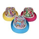 EOZY 3pcs カラフル子供用中折れ帽子 つば広ハット コットン帽子 吸汗通気 UVカット 紫外線防止 頭囲約54cm 夏お出かけ旅行通学 多色セット