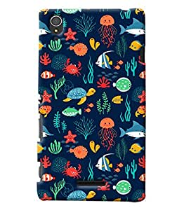 Blue Throat Under Water Animal Life Printed Designer Back Cover For Sony Xperia T3
