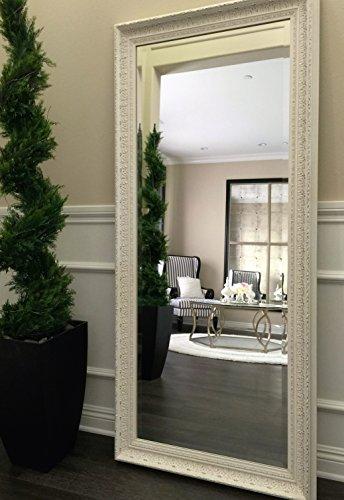 West Frames Elegance Ornate Embossed Antique White Wood Framed Floor Mirror 1