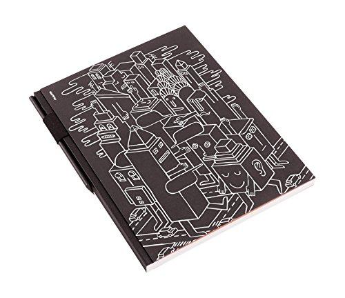 nuuna Design Skizzenbuch Studio XL, Robot City Hardcover, blanko, Stiftschlaufe DIN A4, schwarz