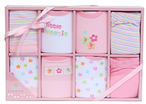 Big Oshi Layette Baby Gift Set, 8 Piece - Gift Boxed - Ready To Go - Perfect Baby Shower Gift - Pink
